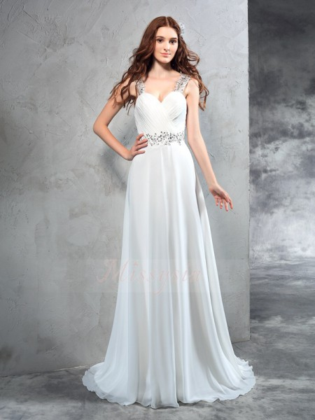 A-Line/Princess Sleeveless Sweetheart Sweep/Brush Train Ivory Wedding Dresses