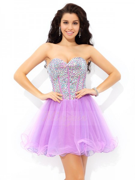 A-Line/Princess Sleeveless Sweetheart Short Lilac Dresses