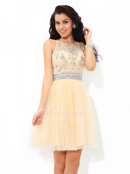 A-Line/Princess Sleeveless Sheer Neck Short Champagne Dresses