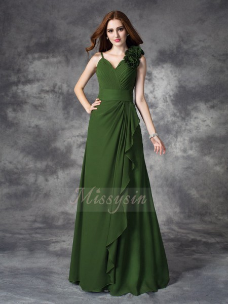 A-line/Princess Sleeveless V-neck Long Green Bridesmaid Dresses