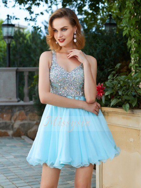 A-Line/Princess Sleeveless Short Light Sky Blue Homecoming Dresses