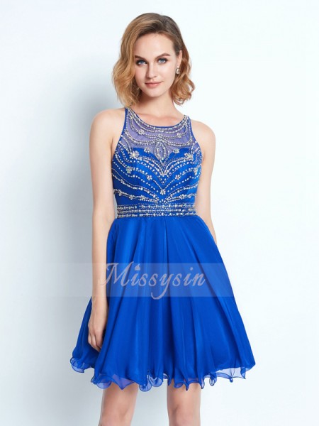 A-Line/Princess Sleeveless Short Royal Blue Homecoming Dresses