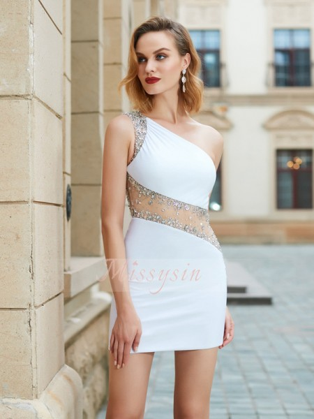 Sheath/Column Sleeveless Short White Homecoming Dresses