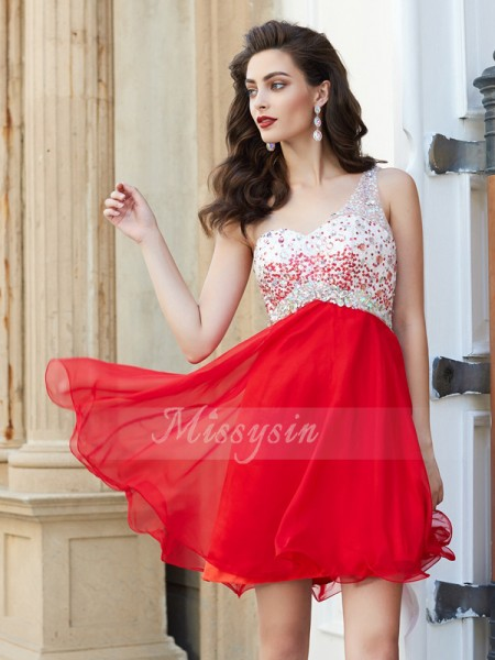 A-Line/Princess Sleeveless Short Red Homecoming Dresses