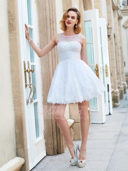 A-Line/Princess Sleeveless Short White Homecoming Dresses