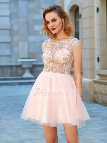 A-Line/Princess Short Sleeves Short Pink Homecoming Dresses