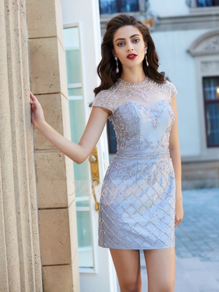 Sheath/Column Short Sleeves Short Silver Homecoming Dresses