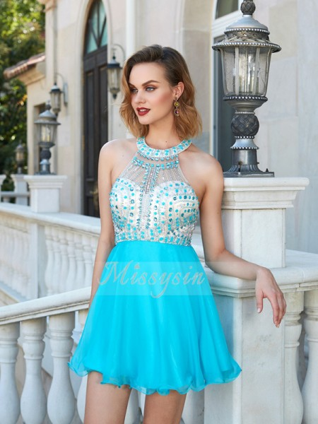 A-Line/Princess Sleeveless Short Blue Homecoming Dresses