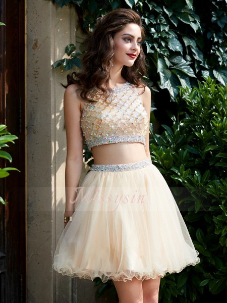 A-Line/Princess Sleeveless Short Champagne Two Piece Dresses