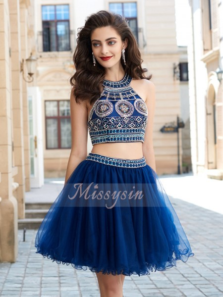 A-Line/Princess Sleeveless Short Dark Navy Homecoming Dresses