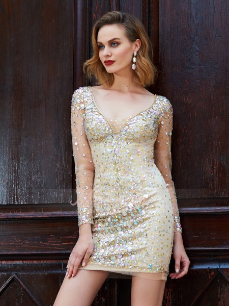 Sheath/Column Long Sleeves Short Gold Homecoming Dresses