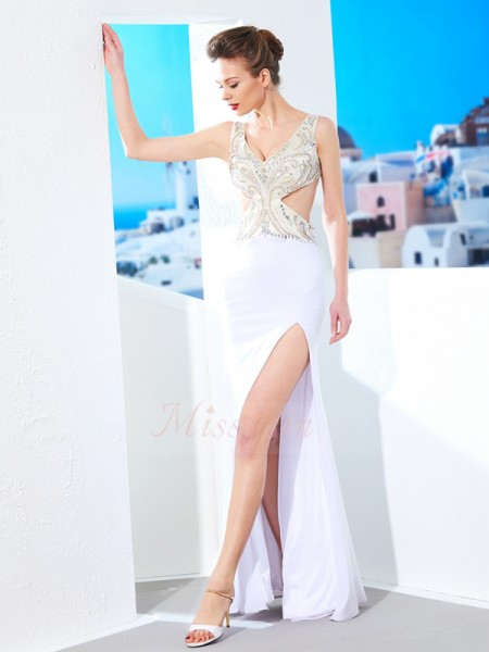 Sleeveless V-neck Long White Prom Dresses