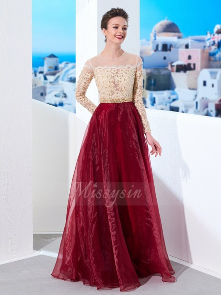 Long Sleeves Sheer Neck Long Burgundy Prom Dresses