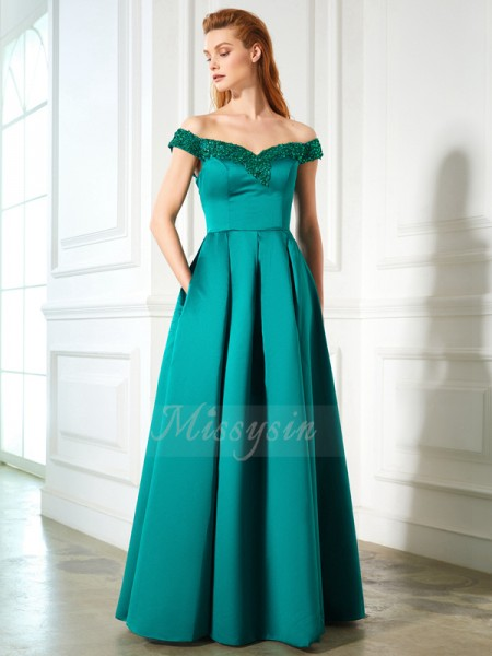 Sleeveless Off-the-Shoulder Long Green Prom Dresses