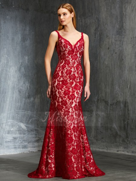 Sleeveless Spaghetti Straps Sweep/Brush Train Red Prom Dresses