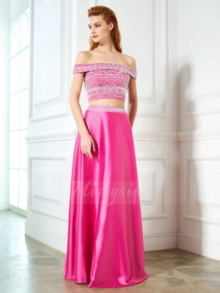 Sleeveless Off-the-Shoulder Long Fuchsia Prom Dresses