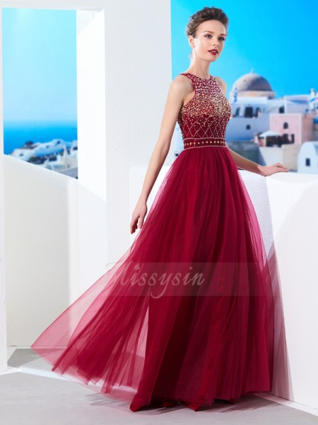 Sleeveless Scoop Long Burgundy Prom Dresses