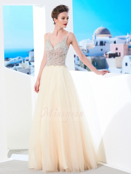 Sleeveless V-neck Long Champagne Prom Dresses