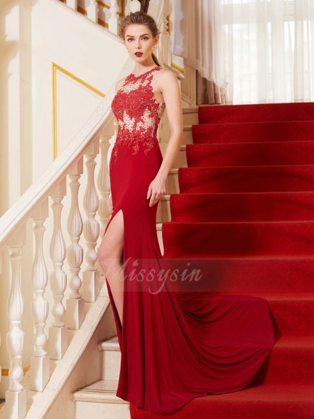 Sleeveless Jewel Sweep/Brush Train Red Prom Dresses