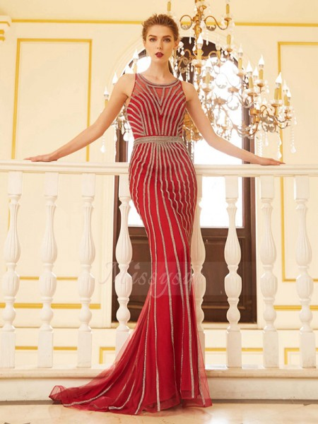 Sleeveless Scoop Sweep/Brush Train Red Prom Dresses