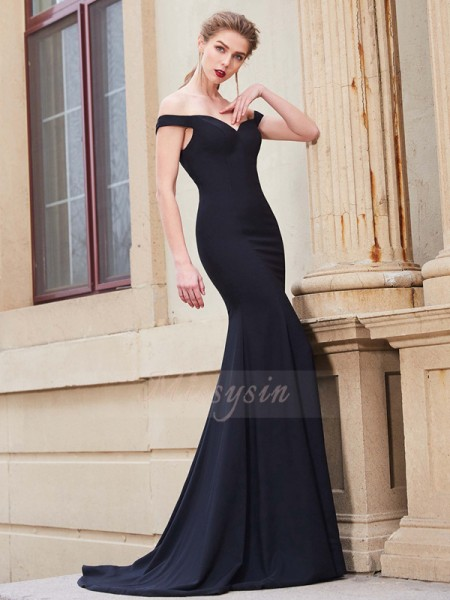 Sleeveless Off-the-Shoulder Sweep/Brush Train Dark Navy Prom Dresses