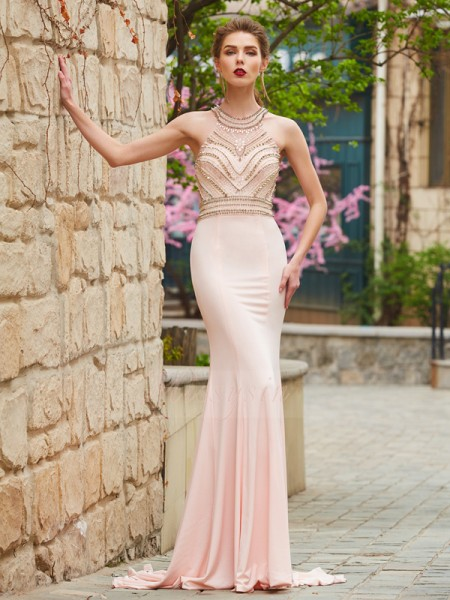 Sleeveless Scoop Sweep/Brush Train Pearl Pink Prom Dresses