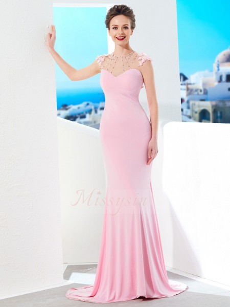 Short Sleeves Jewel Sweep/Brush Train Pearl Pink Prom Dresses