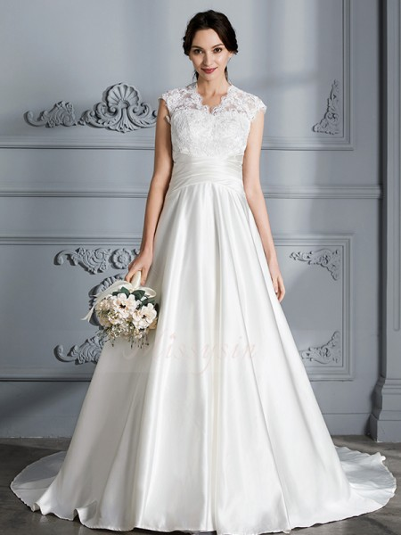 Ball Gown V-neck Sleeveless Court Train Ivory Wedding Dresses