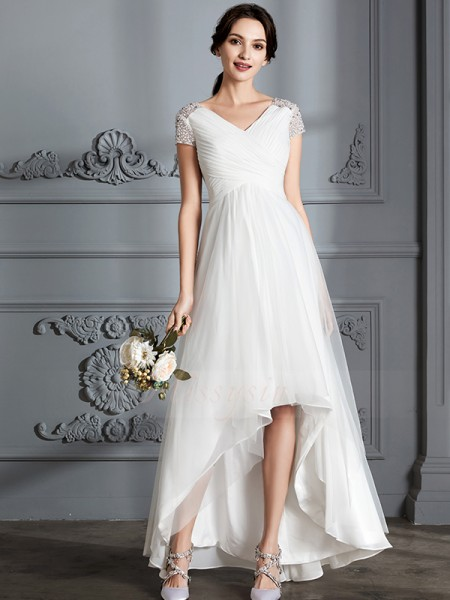 A-Line/Princess V-neck Short Sleeves Asymmetrical Ivory Wedding Dresses