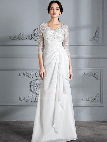 Sheath/Column V-neck 3/4 Sleeves Floor-Length Ivory Wedding Dresses
