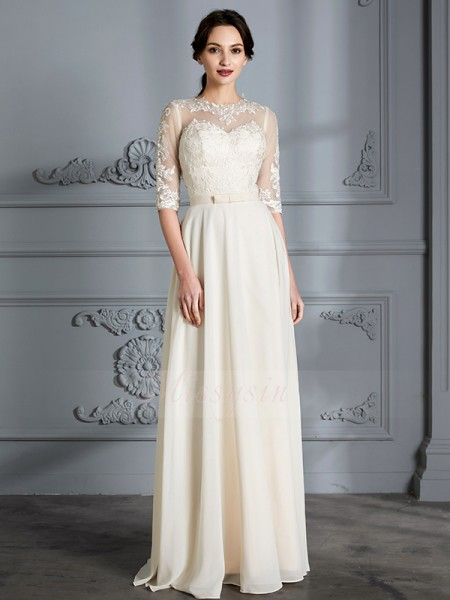 A-Line/Princess Scoop 1/2 Sleeves Floor-Length Ivory Wedding Dresses