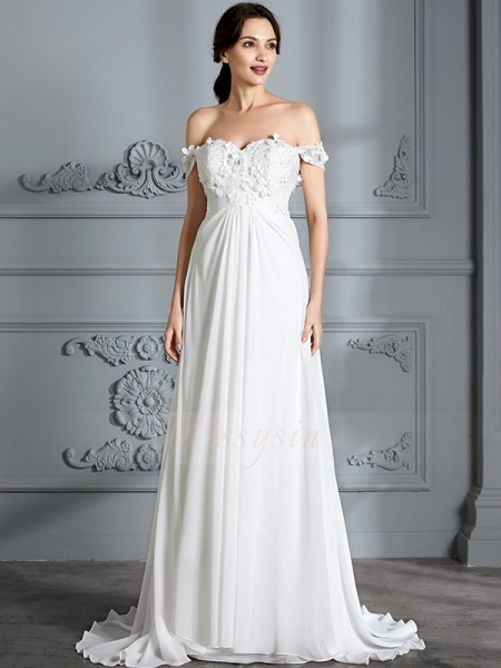 A-Line/Princess Off-the-Shoulder Sleeveless Floor-Length Ivory Wedding Dresses