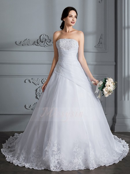 Ball Gown Strapless Sleeveless Court Train White Wedding Dresses