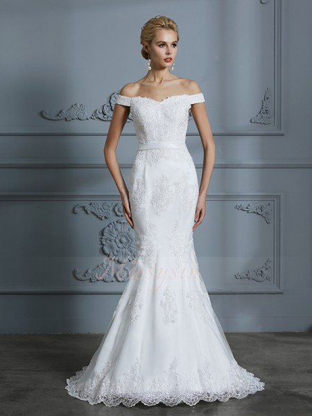 Trumpet/Mermaid Off-the-Shoulder Sleeveless Sweep/Brush Train Ivory Wedding Dresses