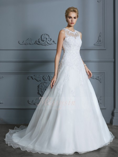 Ball Gown Scoop Sleeveless Court Train Ivory Wedding Dresses