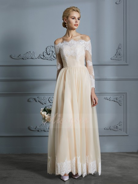 A-Line/Princess Off-the-Shoulder Long Sleeves Floor-Length Champagne Wedding Dresses