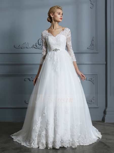 Ball Gown V-neck 3/4 Sleeves Court Train Ivory Wedding Dresses