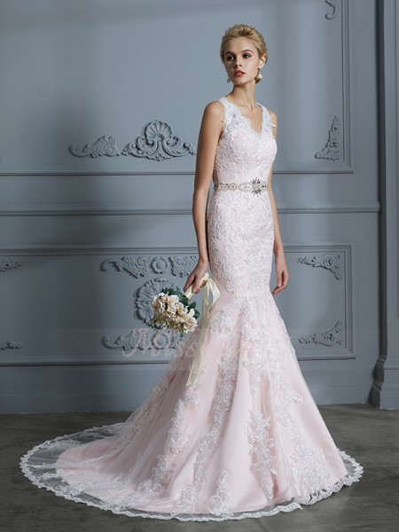 Trumpet/Mermaid V-neck Sleeveless Court Train Pink Wedding Dresses