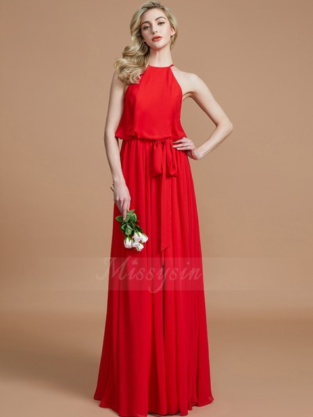 A-Line/Princess Floor-Length Halter Sleeveless Red Bridesmaid Dresses