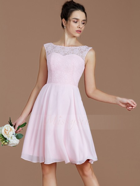 A-Line/Princess Short/Mini Bateau Sleeveless Pink Bridesmaid Dresses