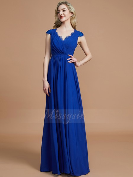 A-Line/Princess Floor-Length V-neck Sleeveless Royal Blue Bridesmaid Dresses