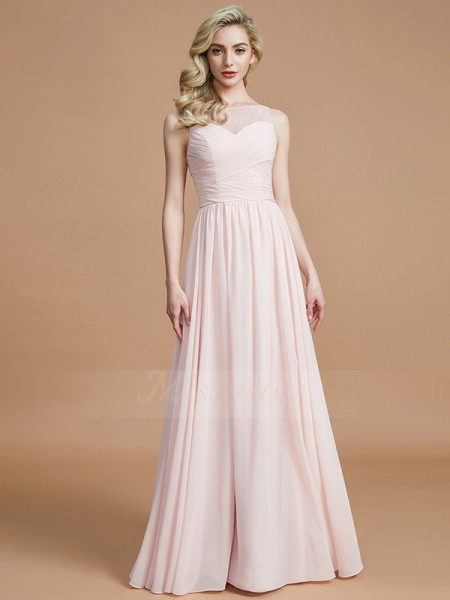 A-Line/Princess Floor-Length Bateau Sleeveless Pearl Pink Bridesmaid Dresses