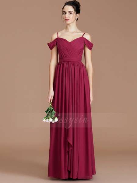 A-Line/Princess Floor-Length Off-the-Shoulder Sleeveless Burgundy Bridesmaid Dresses