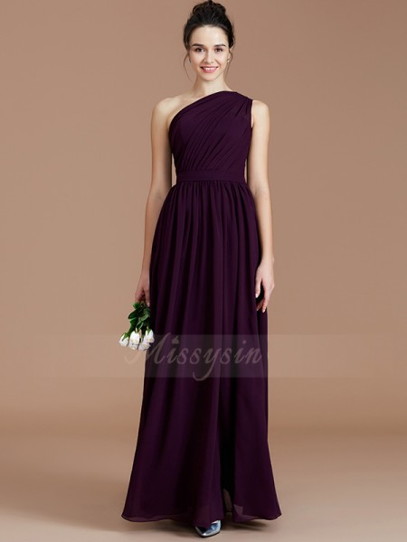 A-Line/Princess Floor-Length One-Shoulder Sleeveless Grape Bridesmaid Dresses