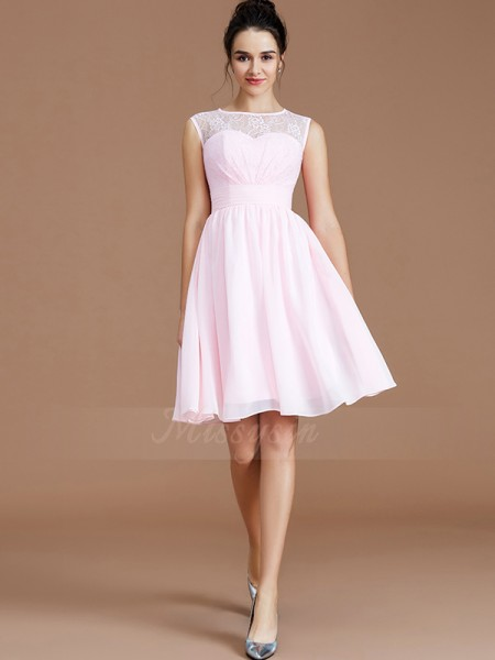 A-Line/Princess Short/Mini Sweetheart Sleeveless Pink Bridesmaid Dresses