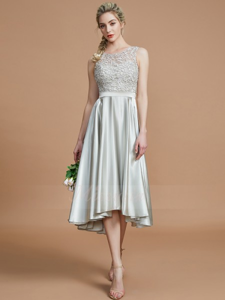 A-Line/Princess Asymmetrical Bateau Sleeveless Silver Bridesmaid Dresses