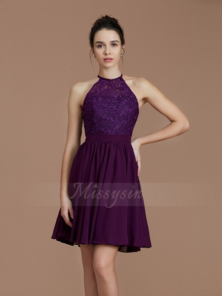 A-Line/Princess Short/Mini Halter Sleeveless Grape Bridesmaid Dresses