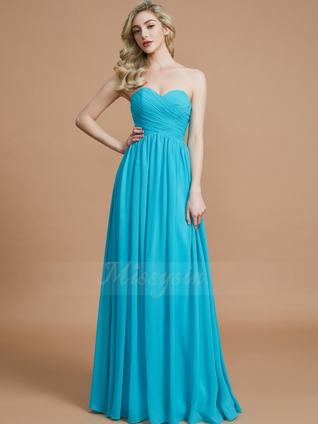 Empire Floor-Length Sweetheart Sleeveless Light Sky Blue Bridesmaid Dresses