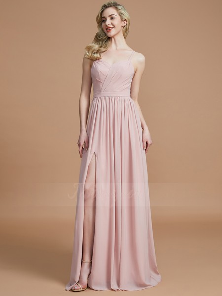 A-Line/Princess Floor-Length Spaghetti Straps Sleeveless Pearl Pink Bridesmaid Dresses