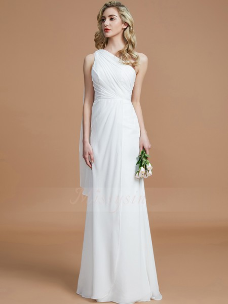 Sheath/Column Floor-Length One-Shoulder Sleeveless Ivory Bridesmaid Dresses